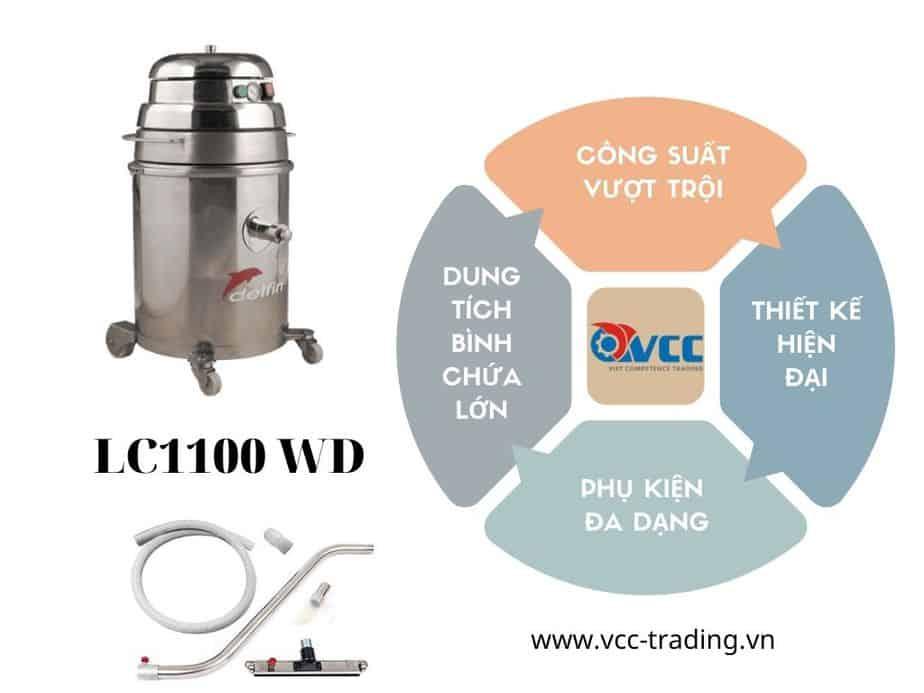 ưu điểm máy hút bụi công nghiệp delfin lc1100wd